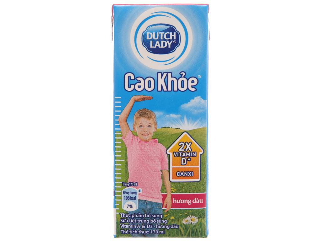 Thùng 48 hộp sữa tiệt trùng Dutch Lady Cao khoẻ hương dâu 170ml 3