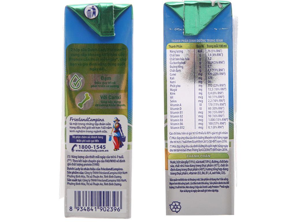 Lốc 4 hộp sữa tiệt trùng Dutch Lady Protein+ có đường 180ml 4