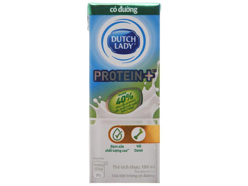 Sữa tiệt trùng Dutch Lady Protein+ có đường hộp 180ml 3