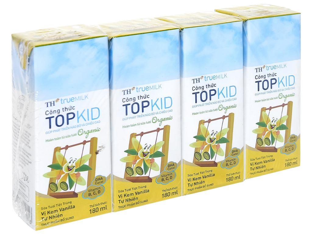 Lốc 4 hộp sữa tươi kem vanilla tự nhiên TH true MILK Top Kid Organic 180ml 1