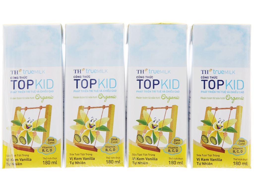 Lốc 4 hộp sữa tươi kem vanilla tự nhiên TH true MILK Top Kid Organic 180ml 2