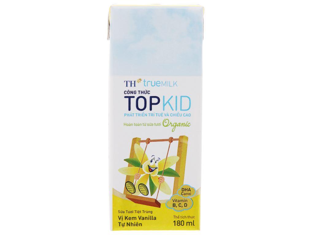 Lốc 4 hộp sữa tươi kem vanilla tự nhiên TH true MILK Top Kid Organic 180ml 3