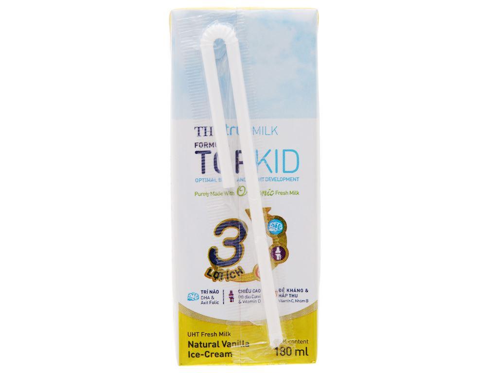 Lốc 4 hộp sữa tươi kem vanilla tự nhiên TH true MILK Top Kid Organic 180ml 4