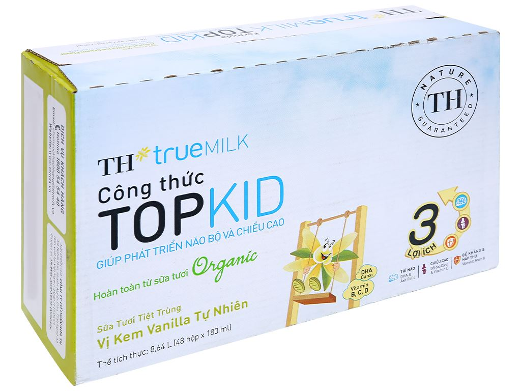 Thùng 48 hộp sữa tươi tiệt trùng kem vanilla tự nhiên TH true MILK Top Kid Organic 180ml 1
