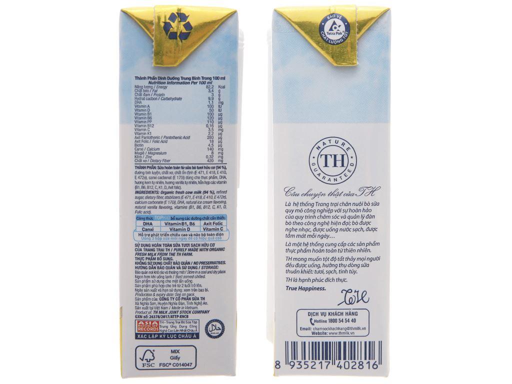 Thùng 48 hộp sữa tươi tiệt trùng kem vanilla tự nhiên TH true MILK Top Kid Organic 180ml 5