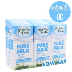 Lốc 3 hộp sữa tươi tiệt trùng Meadow Fresh ít béo 200ml