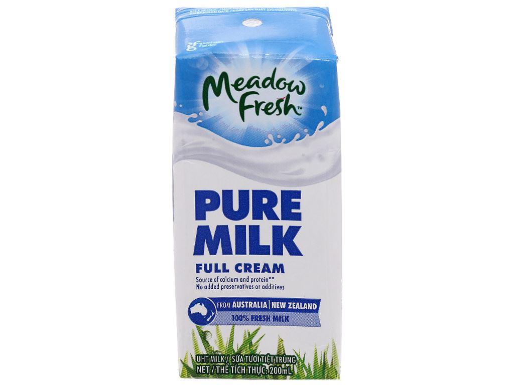 Sữa tươi tiệt trùng Meadow Fresh Pure cream không đường hộp 200ml 1