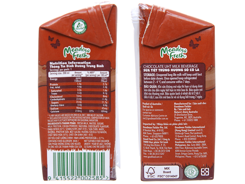 Lốc 3 hộp sữa tươi tiệt trùng Meadow Fresh sô cô la 200ml 4