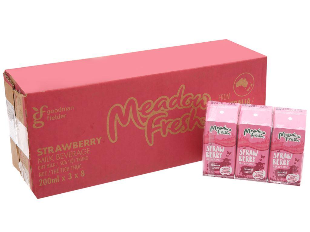 Thùng 24 hộp sữa tươi tiệt trùng Meadow Fresh hương dâu 200ml 2