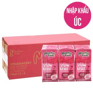 Thùng 24 hộp sữa tươi tiệt trùng Meadow Fresh hương dâu 200ml