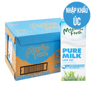 Thùng 12 hộp sữa tươi tiệt trùng Meadow Fresh ít béo 1 lít