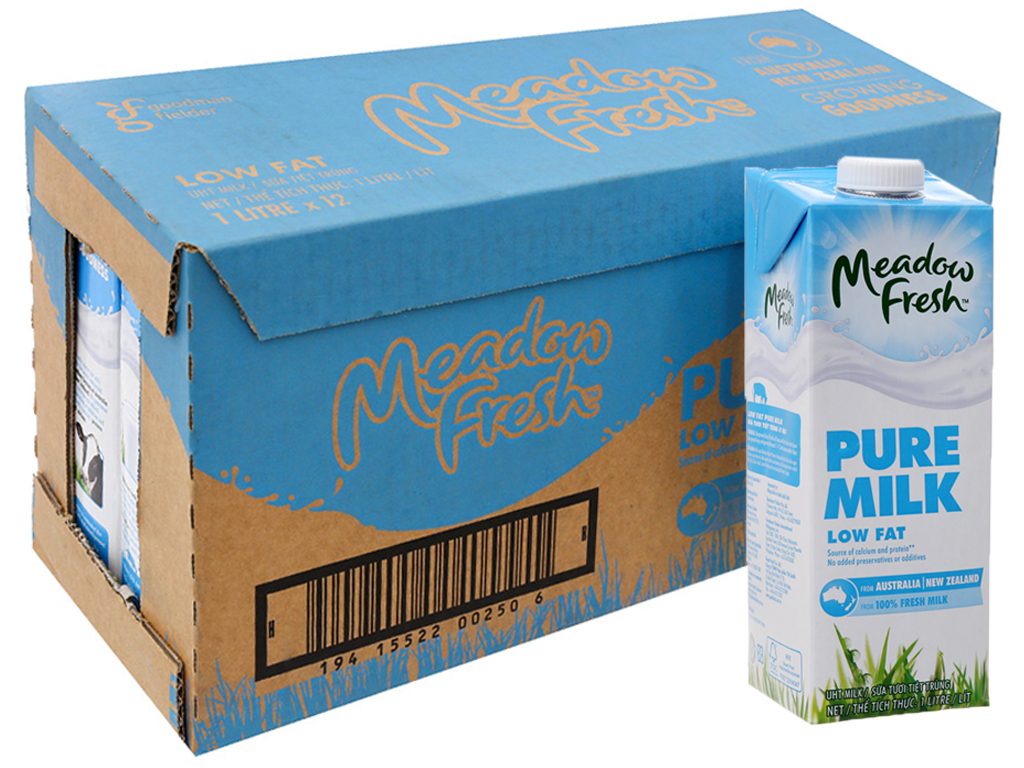 Thùng 12 hộp sữa tươi tiệt trùng Meadow Fresh ít béo 1 lít 1