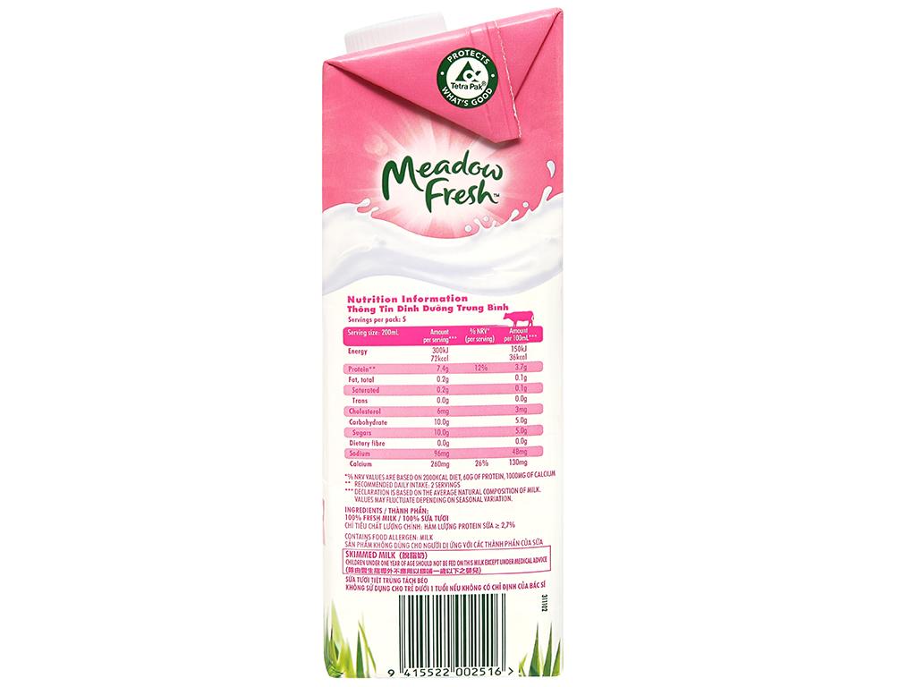 Sữa tươi tiệt trùng Meadow Fresh không béo 1 lít 9