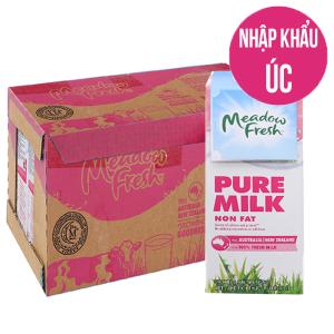 Thùng 12 hộp sữa tươi tiệt trùng Meadow Fresh không béo 1 lít