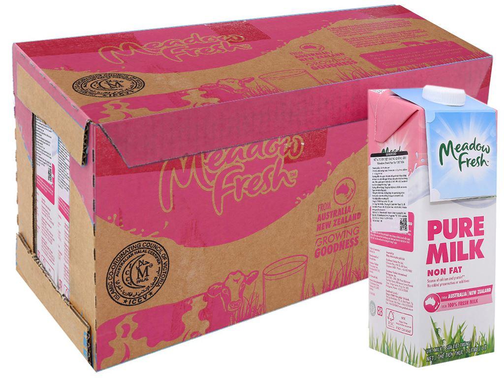 Thùng 12 hộp sữa tươi tiệt trùng Meadow Fresh không béo 1 lít 1