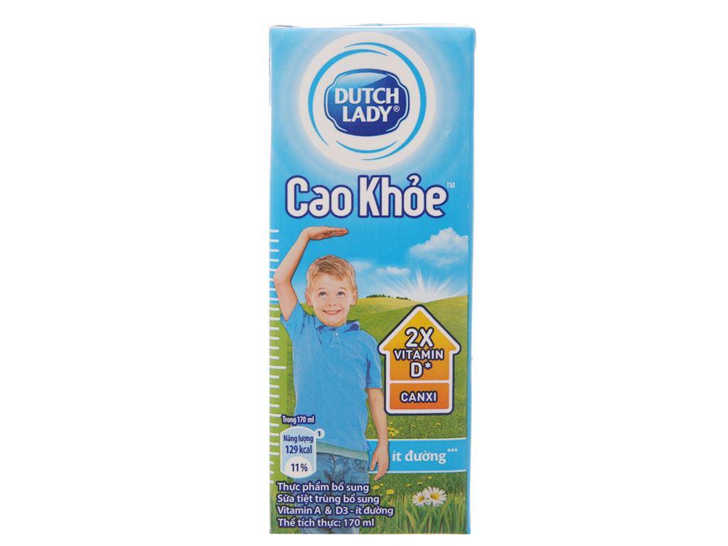 Sữa tiệt trùng Dutch Lady Cao khoẻ ít đường hộp 170ml 2