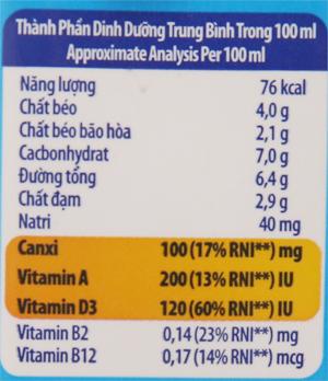 Sữa tiệt trùng Dutch Lady Cao khoẻ ít đường hộp 170ml 6