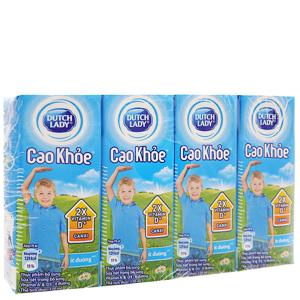 Lốc 4 hộp sữa tiệt trùng Dutch Lady Cao khoẻ ít đường 170ml