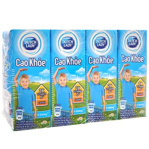 Lốc 4 hộp sữa tiệt trùng ít đường Dutch Lady Cao khoẻ 170ml