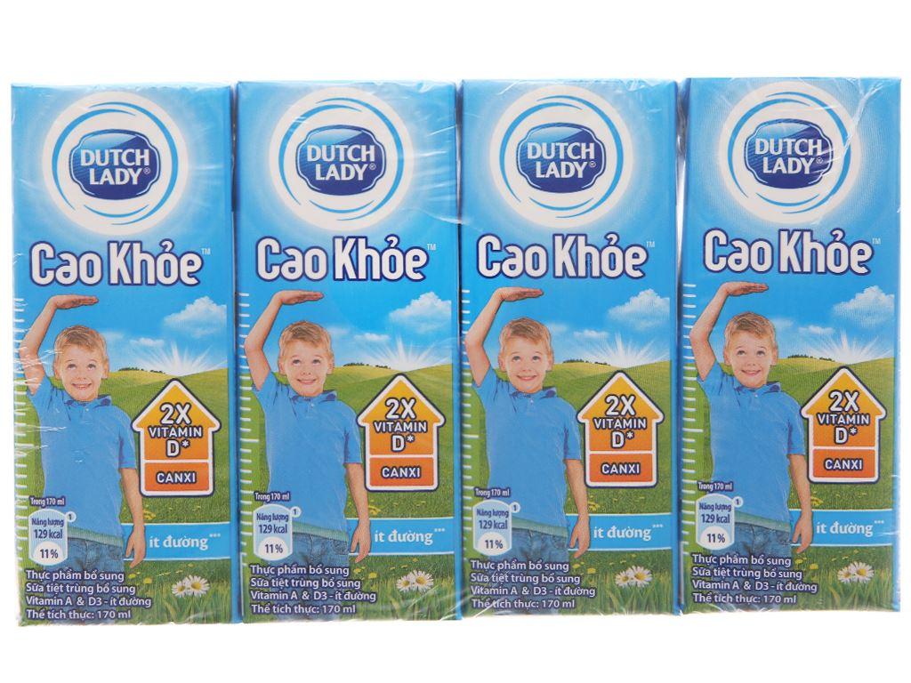 Lốc 4 hộp sữa tiệt trùng ít đường Dutch Lady Cao khoẻ 170ml 2
