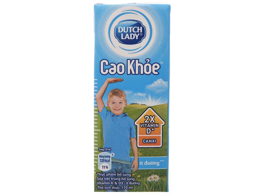 Lốc 4 hộp sữa tiệt trùng ít đường Dutch Lady Cao khoẻ 170ml 3