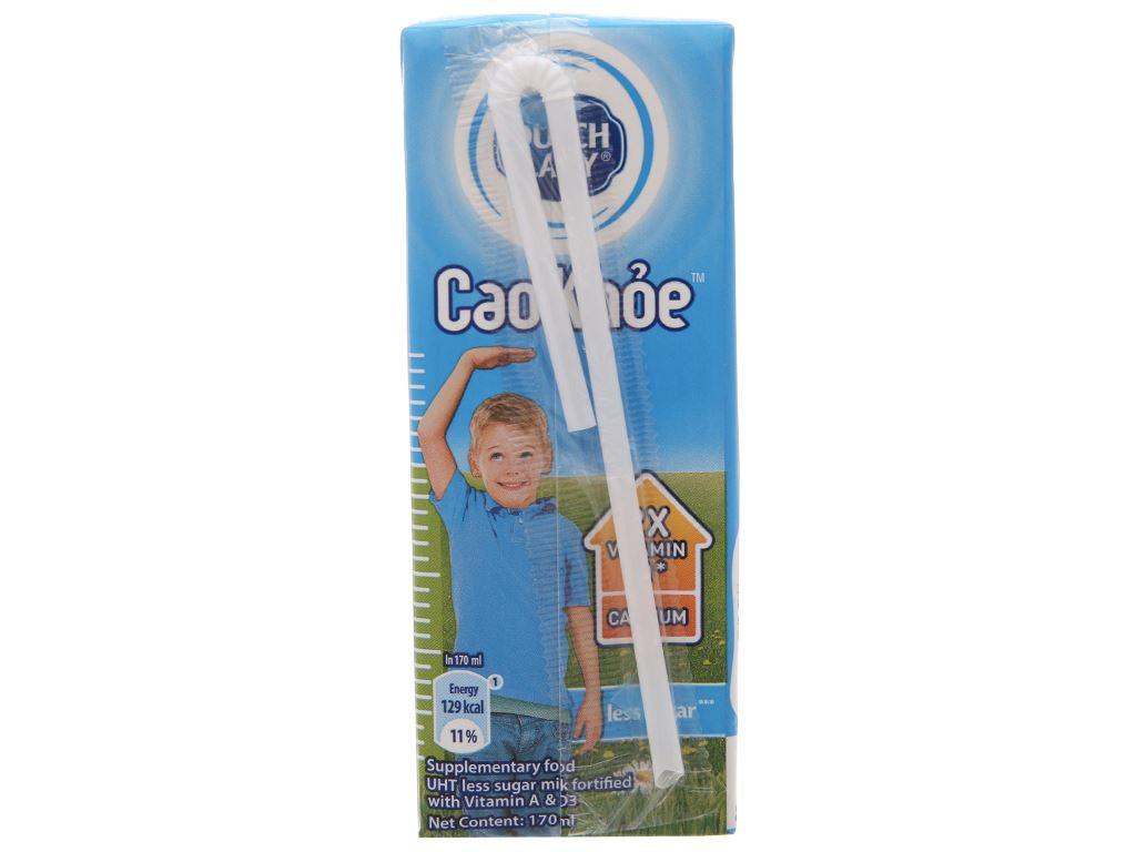 Lốc 4 hộp sữa tiệt trùng ít đường Dutch Lady Cao khoẻ 170ml 4