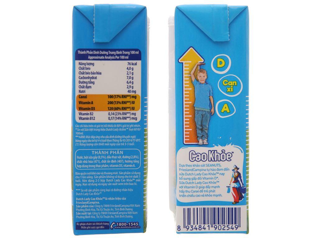 Lốc 4 hộp sữa tiệt trùng ít đường Dutch Lady Cao khoẻ 170ml 5