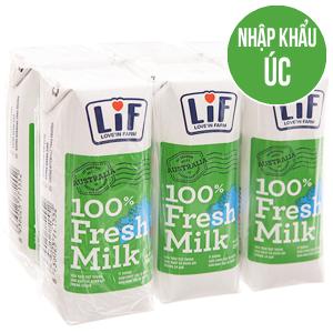 Lốc 6 hộp sữa tươi tiệt trùng Lif ít đường 250ml