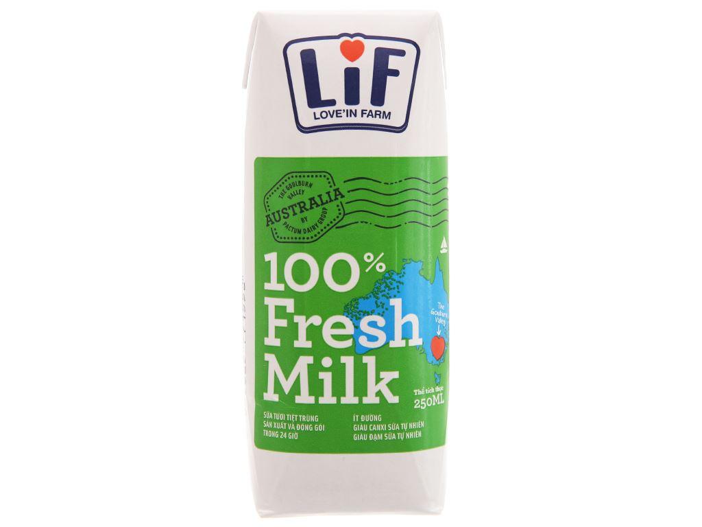 Lốc 6 hộp sữa tươi tiệt trùng LiF ít đường 250ml 2