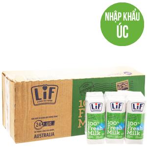 Thùng 24 hộp sữa tươi tiệt trùng Lif ít đường 250ml
