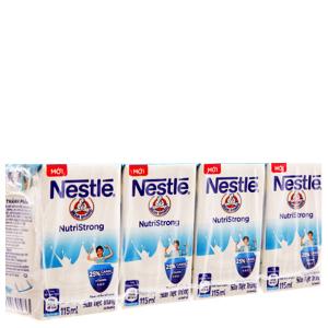 Lốc 4 hộp sữa tiệt trùng Nestlé Nutri Strong có đường 115ml