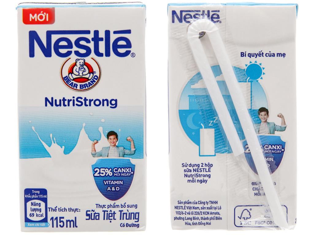 Lốc 4 hộp sữa tiệt trùng Nestlé NutriStrong có đường 115ml 3