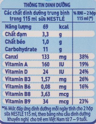 Sữa tiệt trùng Nestlé NutriStrong có đường hộp 115ml 6