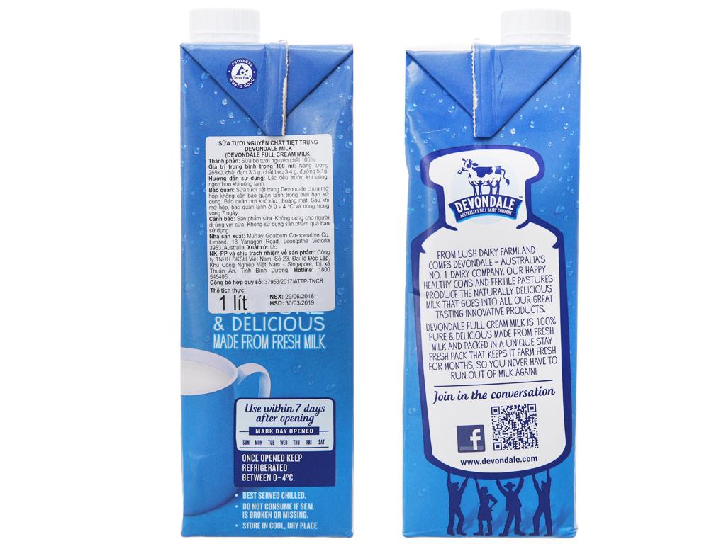 Sữa tươi tiệt trùng nguyên kem Devondale hộp 1 lít 4