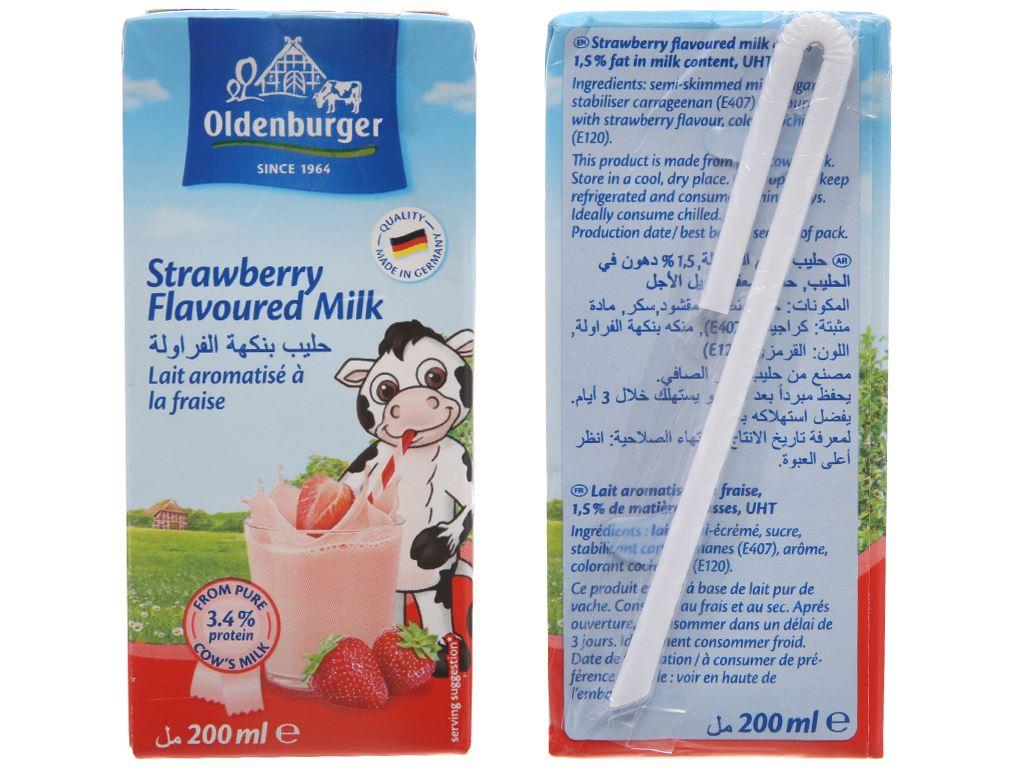 Sữa tươi tiệt trùng Oldenburger hương dâu hộp 200ml 2