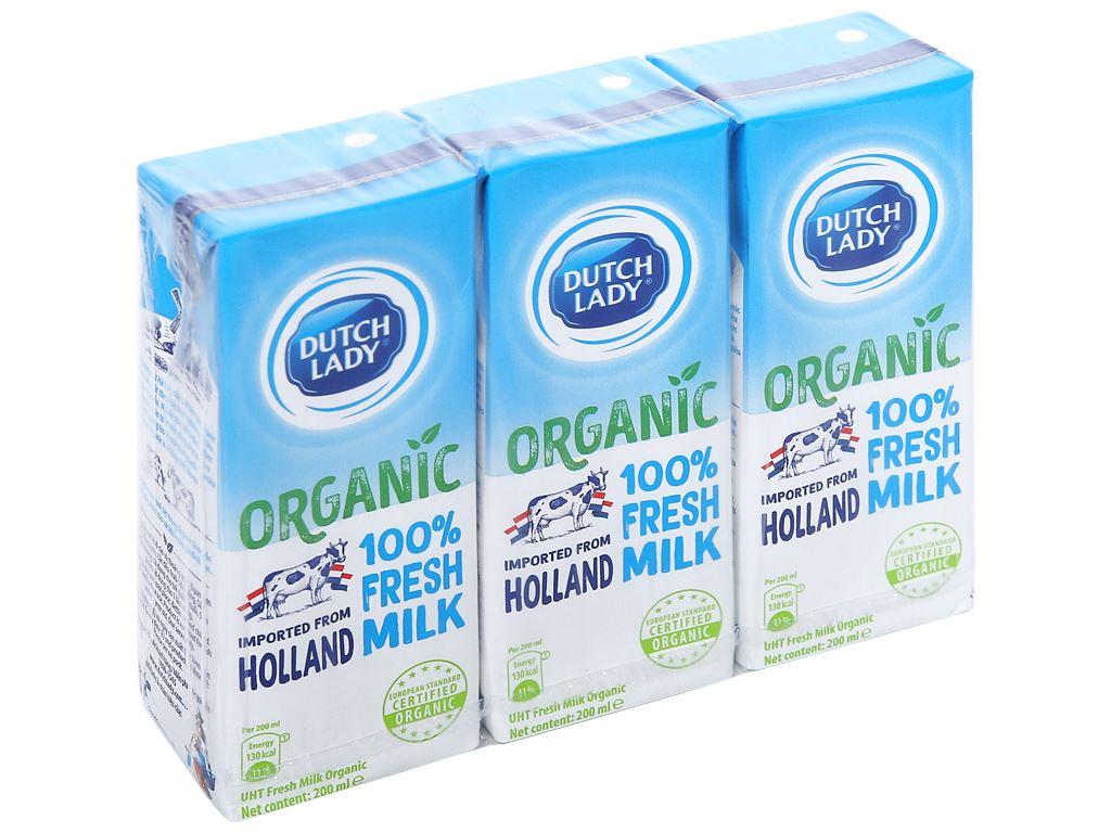 Lốc 3 hộp sữa tươi tiệt trùng Dutch Lady 100% Organic 200ml 1