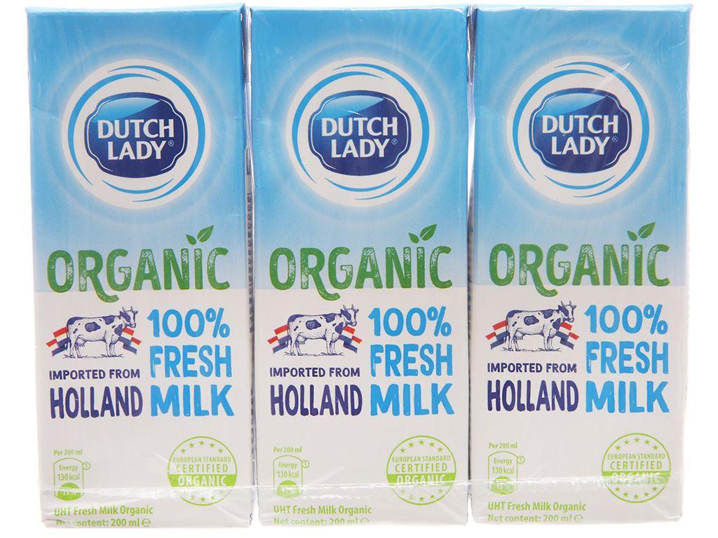 Lốc 3 hộp sữa tươi tiệt trùng Dutch Lady 100% Organic nguyên chất 200ml 1