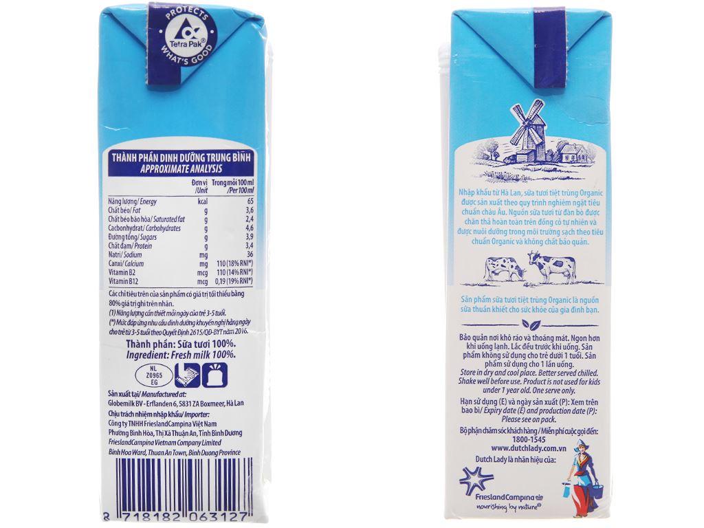 Lốc 3 hộp sữa tươi tiệt trùng Dutch Lady 100% Organic nguyên chất 200ml 4