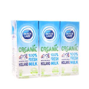 Lốc 3 hộp sữa tươi tiệt trùng Dutch Lady 100% Organic nguyên chất 200ml