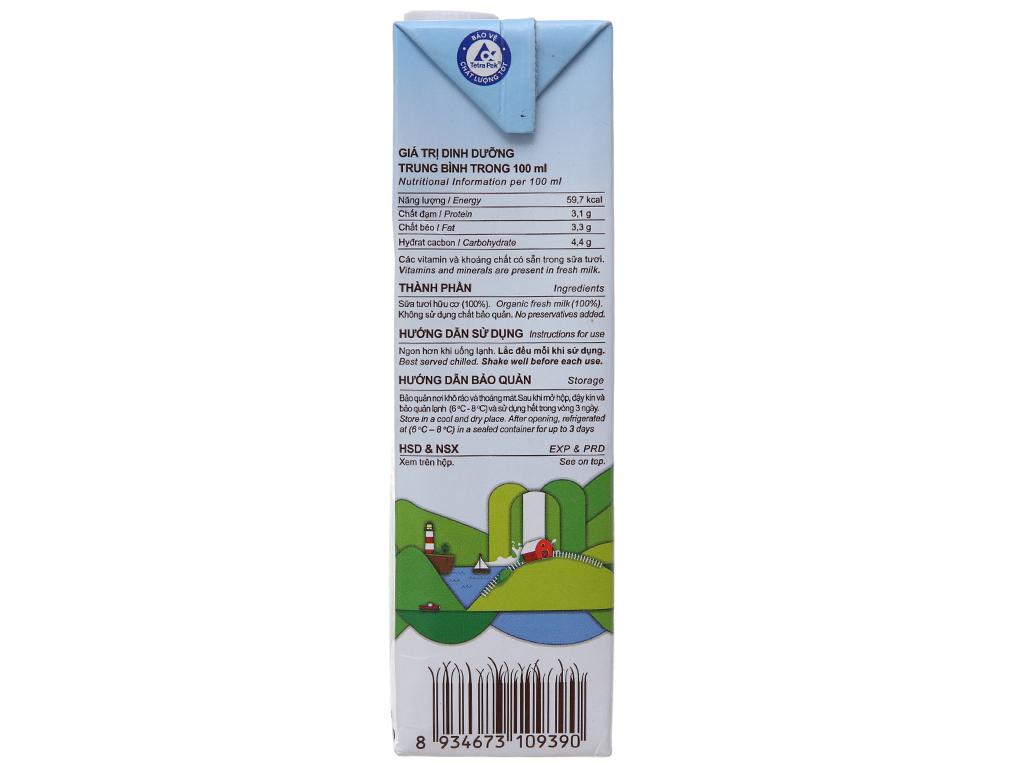 Sữa tươi nguyên chất không đường Vinamilk 100% Organic hộp 1 lít 4