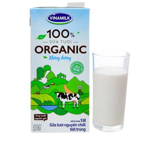 Sữa tươi nguyên chất không đường Vinamilk 100% Organic hộp 1 lít
