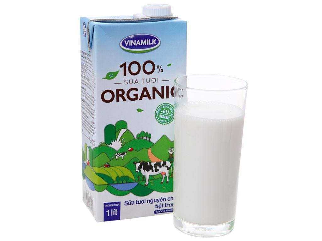 Sữa tươi nguyên chất không đường Vinamilk 100% Organic hộp 1 lít 1