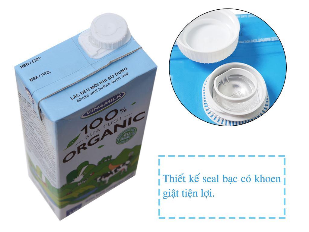 Sữa tươi tiệt trùng Vinamilk 100% Organic nguyên chất hộp 1 lít 3