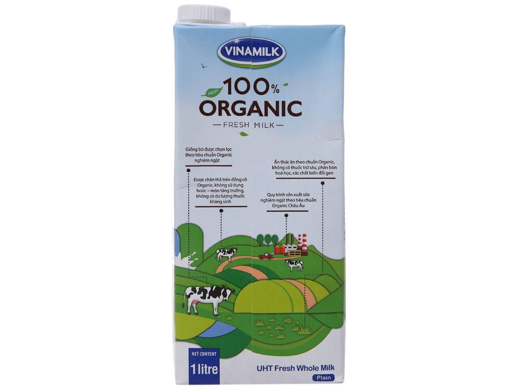 Sữa tươi nguyên chất không đường Vinamilk 100% Organic hộp 1 lít 2