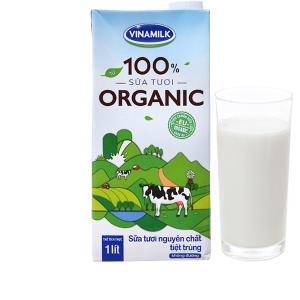 Sữa tươi Vinamilk 100% Organic nguyên chất hộp 1 lít