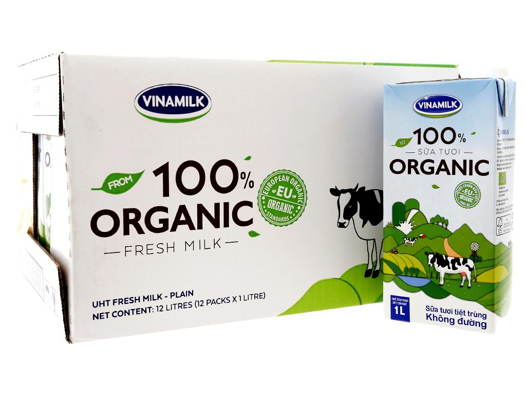 Thùng 12 hộp sữa tươi tiệt trùng Dutch Lady 100% Organic hộp 1 lít 1