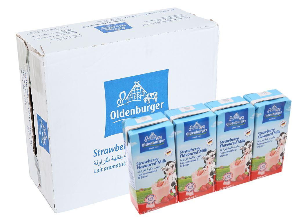 Thùng 24 hộp sữa tươi tiệt trùng hương dâu Oldenburger 200ml 1