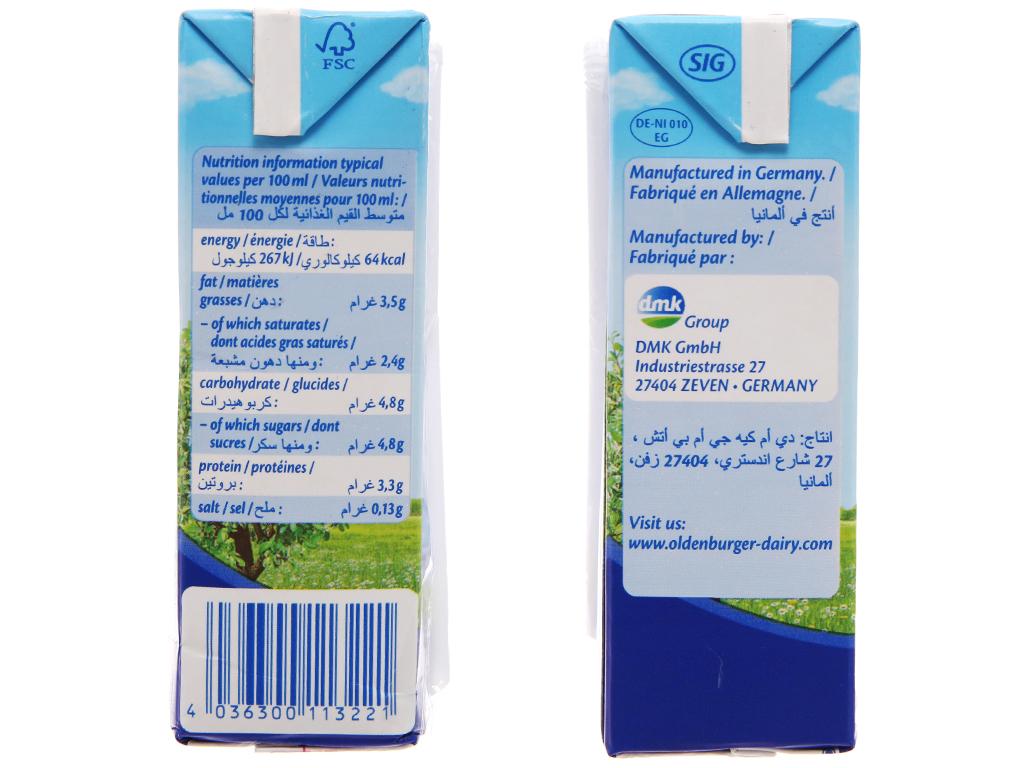 Thùng 24 hộp sữa tươi tiệt trùng Oldenburger nguyên kem hộp 200ml 4
