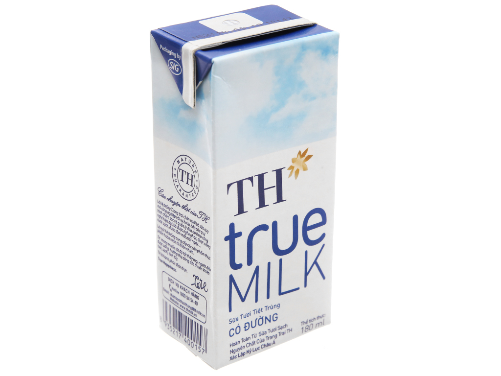 Sữa tươi tiệt trùng TH true MILK có đường hộp 180ml 2