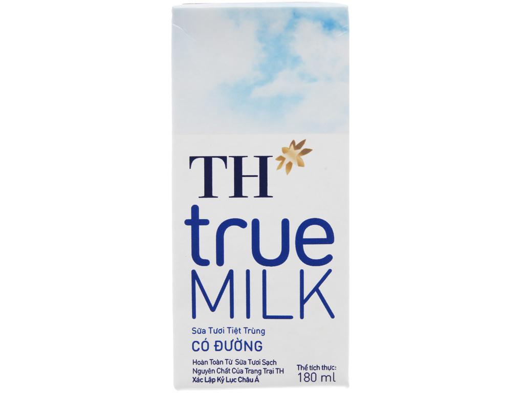 Sữa tươi tiệt trùng TH true MILK có đường hộp 180ml 3